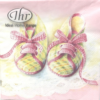 20 Servietten Baby Shoes rose Taufe  25 x 25 cm